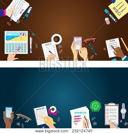 Agenda List Banner Concept Vector Illustration. Business Paper Clipboard In Flat Style. Self-adhesiv