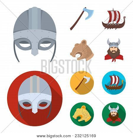 Viking Helmet, Battle Ax, Rook On Oars With Shields, Dragon, Treasure. Vikings Set Collection Icons