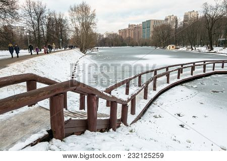 Moscow. Russia. December,03.2017: Desolated Pensive Frozen Pond In City Park Is Mysterious And Full