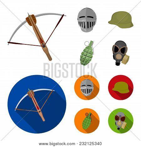 Crossbow, Medieval Helmet, Soldier Helmet, Hand Grenade. Weapons Set Collection Icons In Cartoon, Fl