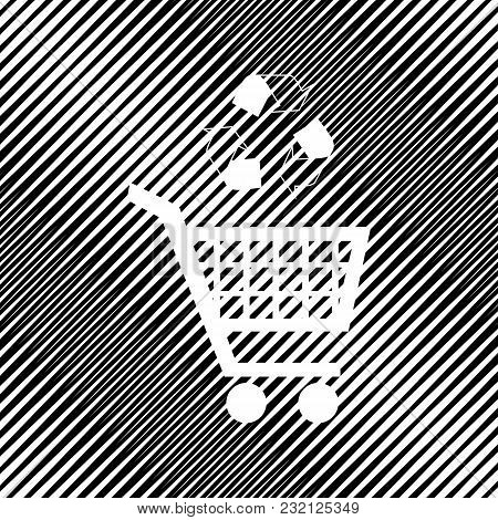Shopping Cart Icon With A Recycle Sign. Vector. Icon. Hole In Moire Background.