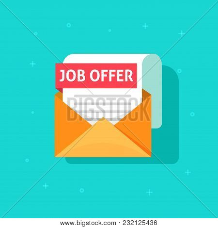 Job Offer Text On Email Envelope Document, Flat Cartoon Design Of Recruitment Concept, Work Search S