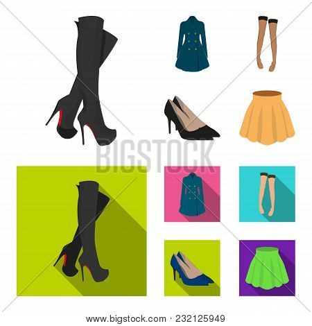 Women High Boots, Coats On Buttons, Stockings With A Rubber Band With A Pattern, High Heeled Shoes.