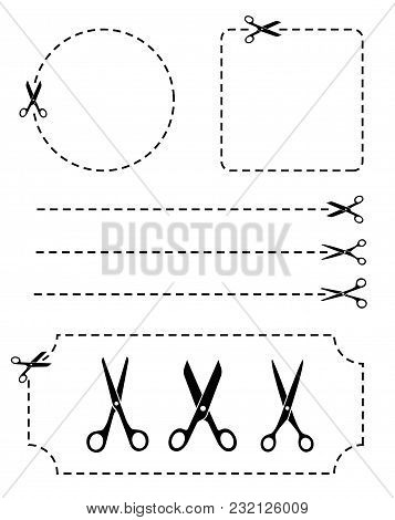 Set Scissors With Cut Lines. Flat Style - Stock Vector.