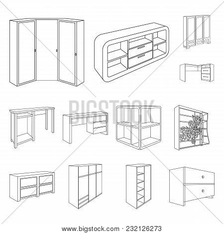 Bedroom Furniture Outline Icons In Set Collection For Design. Modern Wooden Furniture Isometric Vect