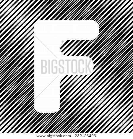 Letter F Sign Design Template Element. Vector. Icon. Hole In Moire Background.