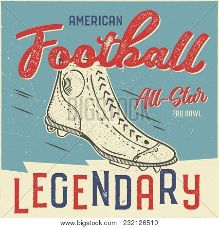 Classic Usa Football T Shirt Design. American Football Tee Graphic. All Star Bowl Sign. Usa Football