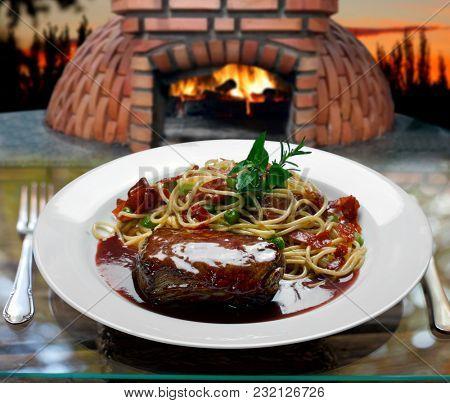Filet mignon with pasta