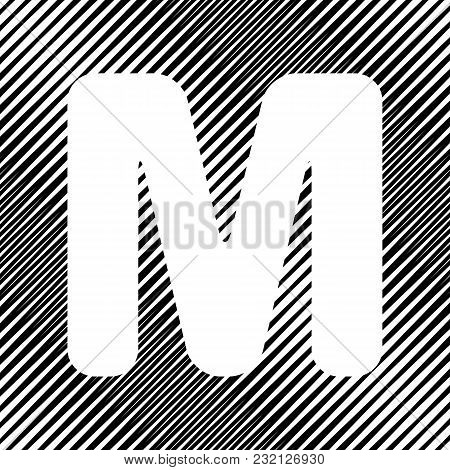 Letter M Sign Design Template Element. Vector. Icon. Hole In Moire Background.