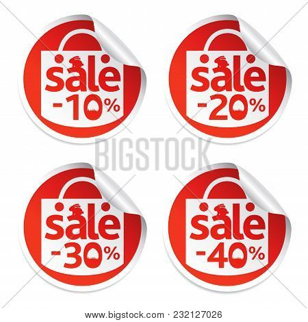 Easter Sale Stickers 10,20,30,40 With Egg In The Grass And Rabbit.vrector Illustration