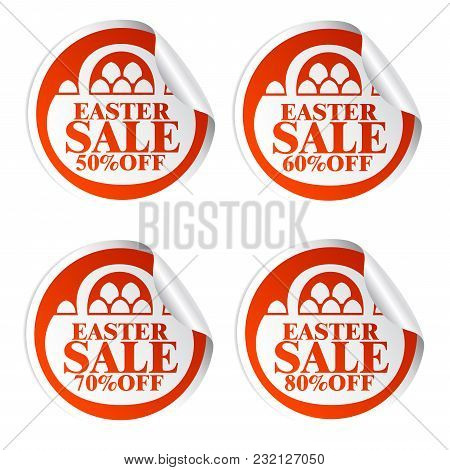 Easter Sale Stickers 50,60,70,80 With Basket.vector Illustration