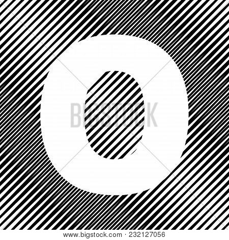 Letter O Sign Design Template Element. Vector. Icon. Hole In Moire Background.
