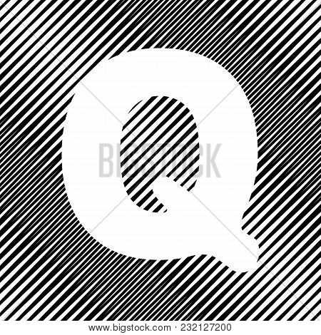 Letter Q Sign Design Template Element. Vector. Icon. Hole In Moire Background.