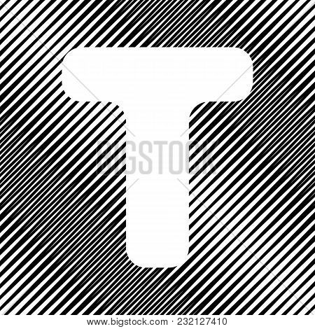 Letter T Sign Design Template Element. Vector. Icon. Hole In Moire Background.