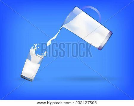 Glass And Jug Full Of Milk. World Milk Day. Vector Illustration