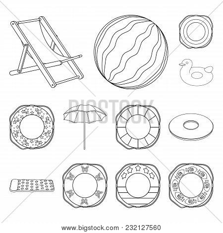Multicolored Swimming Circle Outline Icons In Set Collection For Design. Different Lifebuoys Vector