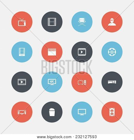 Set Of 16 Editable Cinema Icons. Includes Symbols Such As Camera Strip, Clapperboard, Television And