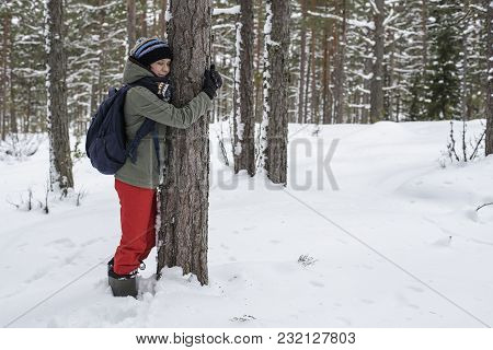 Cute Woman Hugging A Tree In The Winter Forest. The Concept Of Conservation Of Nature.