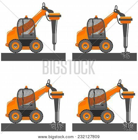 Detailed Illustration Of Car With Hydraulic Hammer. Mini Excavator With Different Boom Position. Hyd
