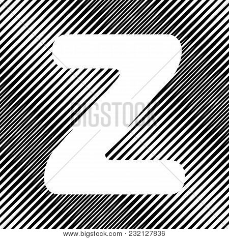 Letter Z Sign Design Template Element. Vector. Icon. Hole In Moire Background.