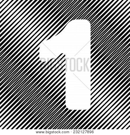 Number 1 Sign Design Template Element. Vector. Icon. Hole In Moire Background.