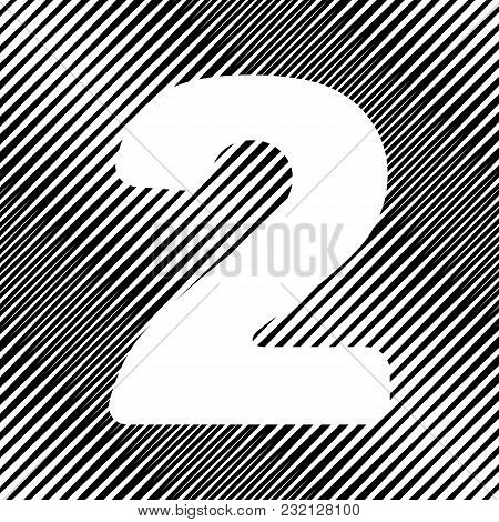 Number 2 Sign Design Template Elements. Vector. Icon. Hole In Moire Background.