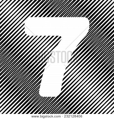 Number 7 Sign Design Template Element. Vector. Icon. Hole In Moire Background.