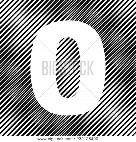 Number 0 Sign Design Template Element. Vector. Icon. Hole In Moire Background.