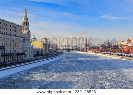 View Of Sofiyskaya Embankment In Sunny Winter Day. Moscow In Winter