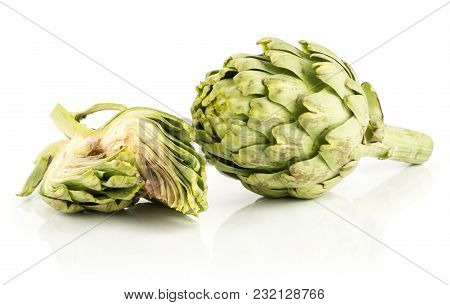 Globe Artichoke Flower And Two Slices Isolated On White Background Fresh Cut Raw