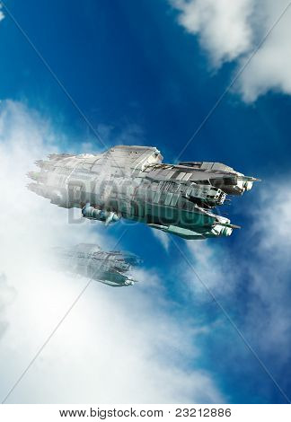 Ufo Or Spaceship Flying Through The Clouds