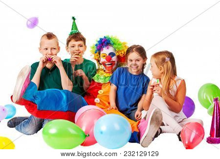 Birthday child clown playing with children and bunny fingers prank. Kid holiday cakes celebratory and balloons the happiest birthday. Beginning of summer holidays. Holiday for children in kindergarten