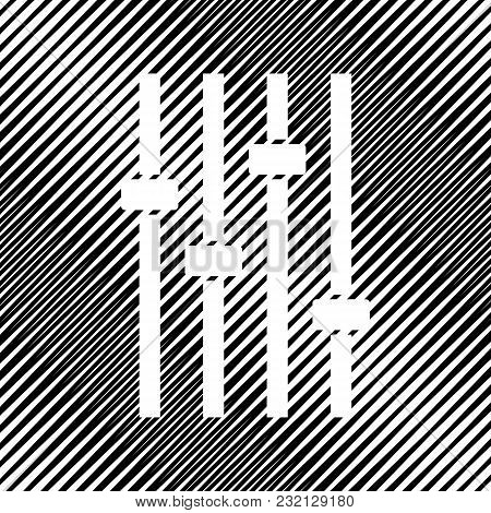 Adjustment Music Line Sign. Vector. Icon. Hole In Moire Background.