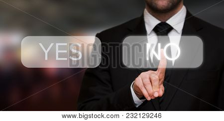 Businessman Pressing No Button On Touch Screen