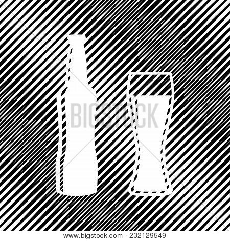 Beer Bottle Sign. Vector. Icon. Hole In Moire Background.