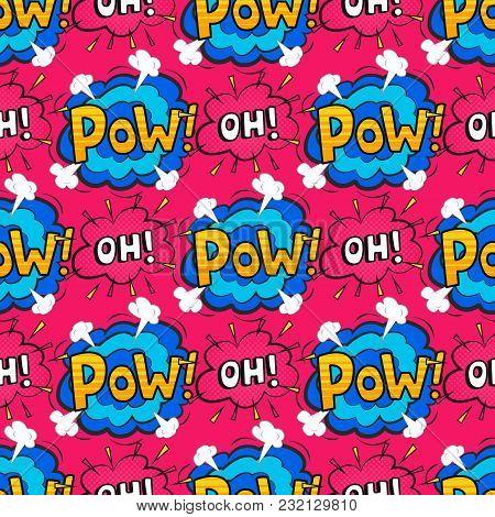 Pop Art Comic Speech Bubble Boom Effects Vector Explosion Bang Communication Cloud Fun Humor Book Sp