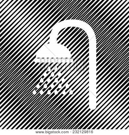 Shower Sign. Vector. Icon. Hole In Moire Background.