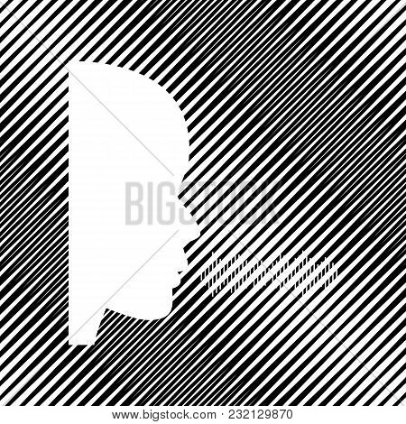 People Speaking Or Singing Sign. Vector. Icon. Hole In Moire Background.