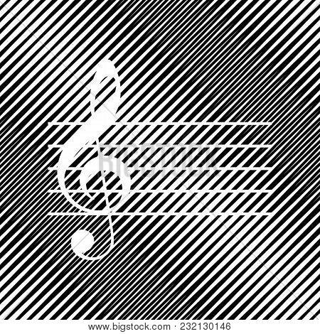 Music Violin Clef Sign. G-clef. Vector. Icon. Hole In Moire Background.