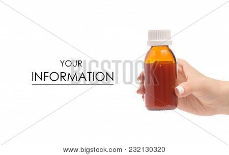 Cough Syrup In Hand Throat Medicine Illness Pattern On A White Background Isolation