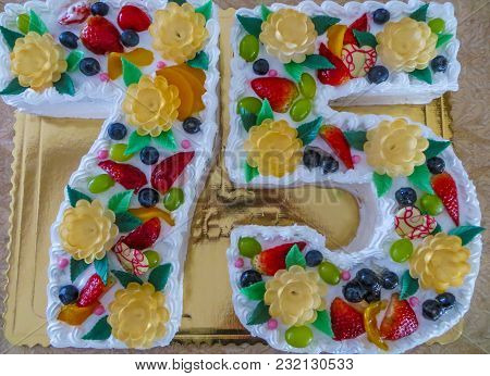 A Biscuit Cake On The Seventy-fifth Anniversary.