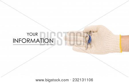 Keys In Hand In Building Gloves Pattern On White Background Isolation