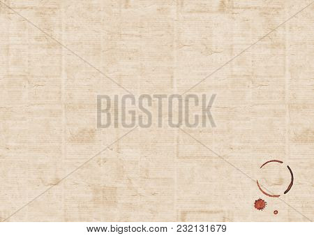 Old Vintage Grunge Unreadable Blur Newspaper Paper Texture Background With Coffee Cup Trace And Coff