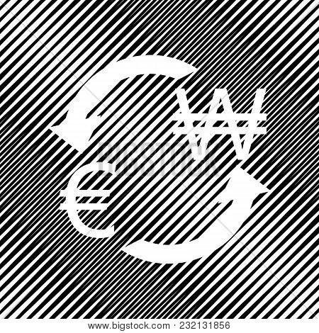 Currency Exchange Sign. Euro And South Korea Won. Vector. Icon. Hole In Moire Background.