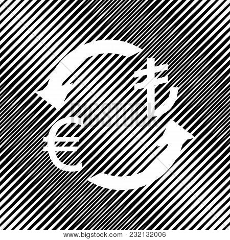 Currency Exchange Sign. Euro And Turkey Lira. Vector. Icon. Hole In Moire Background.