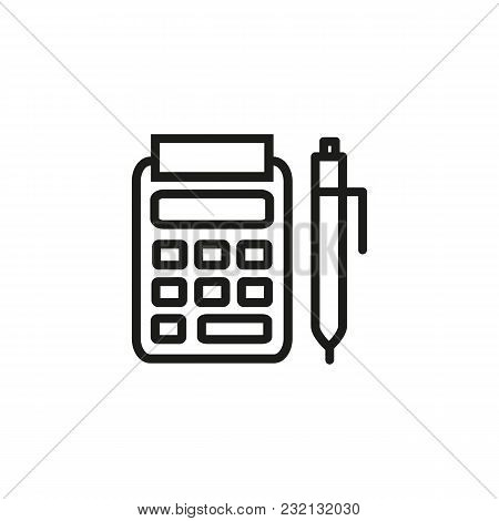 Pos Terminal And Pen Line Icon. Receipt, Banking, Payment. Finance Concept. Can Be Used For Topics L