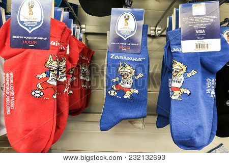 Rostov-on-don, Russia - March, 2018. Gifts In The Form Of Socks With A Picture The Official Mascot O
