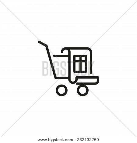 Shopping Cart With Bill Line Icon. Trolley, Receipt, Invoice. Finance And Accounting Concept. Can Be