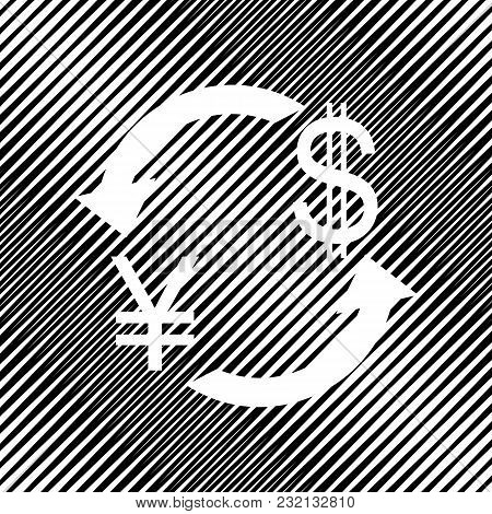 Currency Exchange Sign. Japan Yen And Us Dollar. Vector. Icon. Hole In Moire Background.