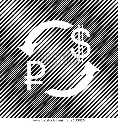 Currency Exchange Sign. Ruble And Us Dollar. Vector. Icon. Hole In Moire Background.